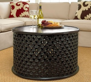 Pottery barn wood african coffee table bamileke stool, http://PragmaticMom.com