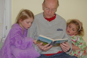 reading with Grandpa, caught in the act of reading, pragmatic mom