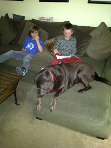 Caught in the Act of Reading PragmaticMom Pragmatic Mom reading with dog reading to dog