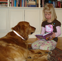 kid child read to dog pragmatic mom pragmaticmom caught in the act of reading