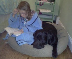 Caught in the Act of reading to your dog Pragmatic Mom pragmaticmom.com sam and mosley
