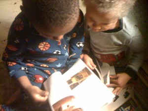 Mama C and the Boys Caught in the act of reading Pragmatic Mom PragmaticMom