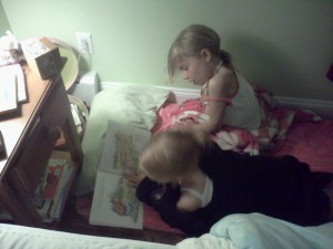 Caught in the Act of Reading sisters reading together PragmaticMom PragmaticMom
