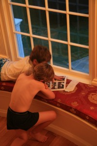 Caught in the Act of REading Pragmatic Mom two brothers reading comics together