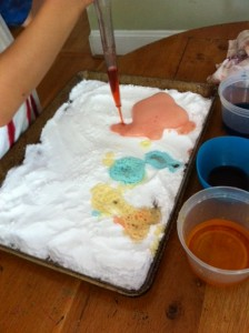 baking soda and colored vinegar