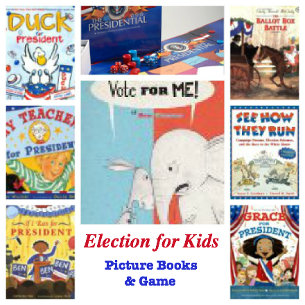 teaching kids presidential election, picture books on election, election game, presidential election game, learning about election politics
