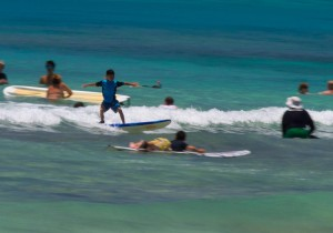 kid surfing Waikiki