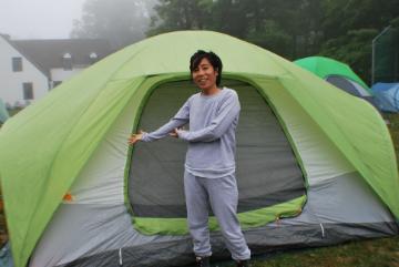 PragmaticMom pitching tent,