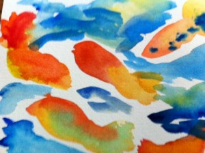 koi fish art project, koi fish watercolor art