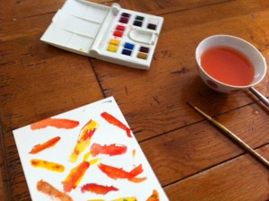 art project for kids, watercolor with kids, painting with kids, kids art project watercolor koi fish