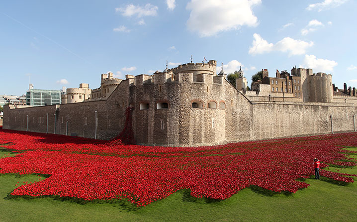 Tower of London art installation of ceramic poppies
