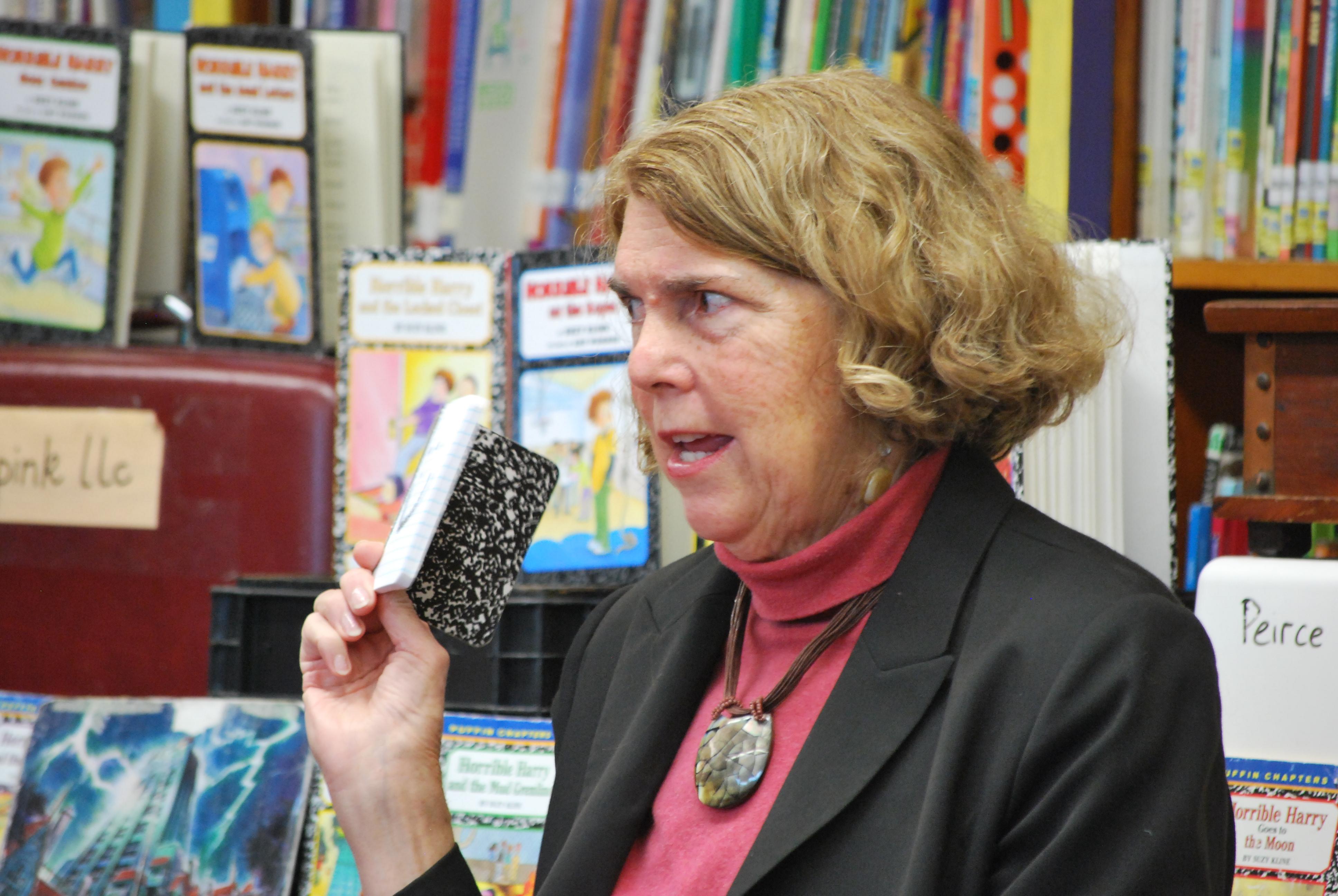 Suzy Kline author visit, notebook, seeds of book ideas