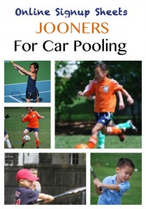 Jooners, online sign up sheets, car pools, car pooling organization, soccer moms