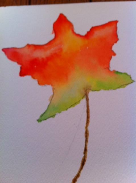Autumn leaf art project for kids, kids watercolor art project, color mixing on paper art project for kids