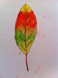 Autumn leaf art project for kids, kids watercolor art project, color mixing on paper art project for kids