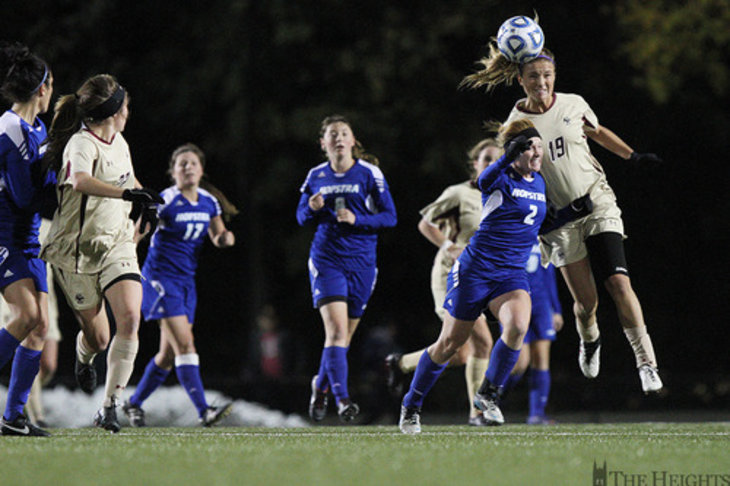 Boston College women's soccer versus Hofstra,