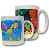 kid's artwork into mugs