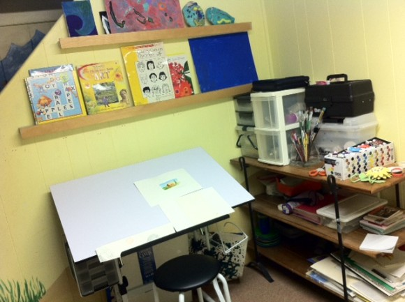 creating an art studio space, small art studio space for kids
