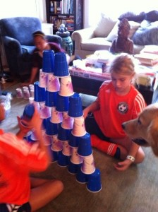 indoor activity for kids, cup stacking,