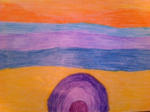 Abstract art project for kids, Arthur Dove, crayon abstract art project for kids