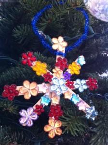 flower snowflake craft stick ornament craft for kids, snowflake ornament craft for kids, Christmas tree ornament crafts for kids