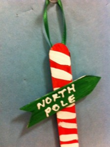 made by kids ornaments, north pole sign ornament