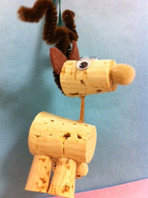wine bottle cork reindeer homemade ornament a kid made