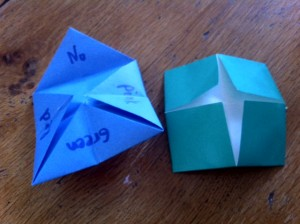 origami fortune teller, origami for kids, origami cootie catcher