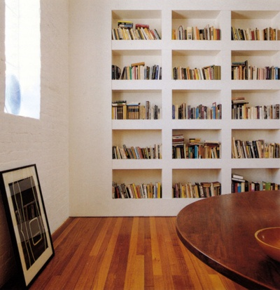 built in wall shelves, home library