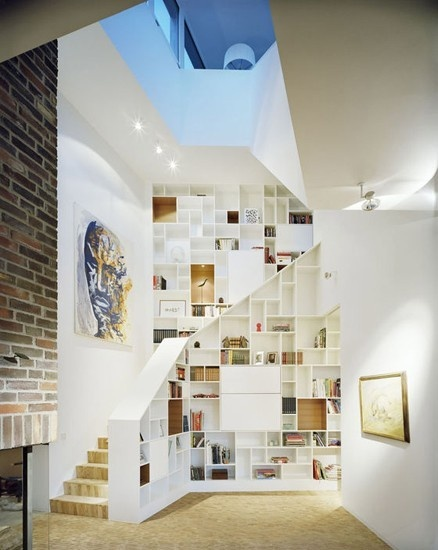 basement stair home library