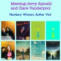 Jerry Spinelli and Clare Vanderpool, author visits, Newbery authors, meeting children's authors, meet children's authors, Maniac Magee, Stargirl, Moon Over Manifest, Hokey Pokey, Navigating Early
