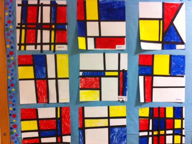 Mondrian, Piet Mondrian, Mondrian art project, art project for children, art and music project for kids, math and art project, STEAM project