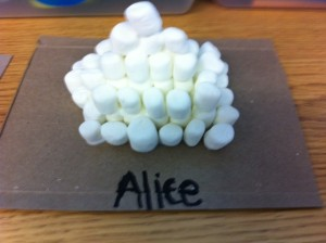 marshmallow Aztec pyramid craft for kids