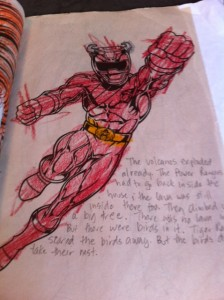 Power Rangers coloring book turned into story, kids and writing, writing and reading connection