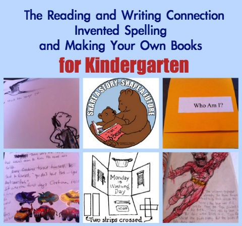 reading and writing, Kindergarten, invented spelling, making book crafts for kids