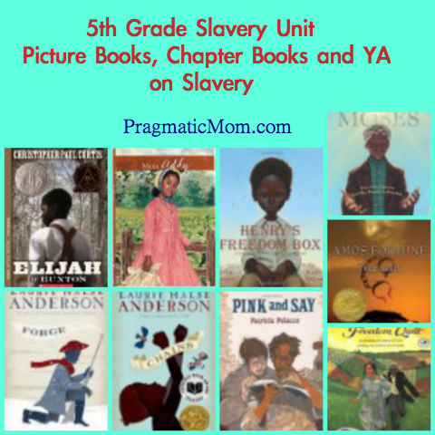 5th grade slavery unit, picture books on slavery, chapter books on slavery, ya on slavery