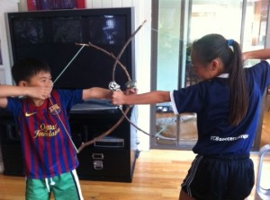 stick bow and arrow