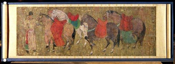 A Groom With Horses Han Gan scroll art