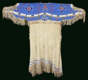 Lakota dress, unknown artist, the beadwork tells the story of creation