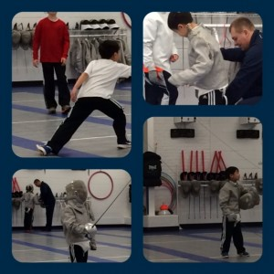 3rd grader first fencing lesson