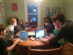third grade boys learn to program in Scratch from MIT