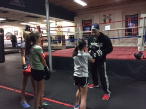 middle school girls learn to box