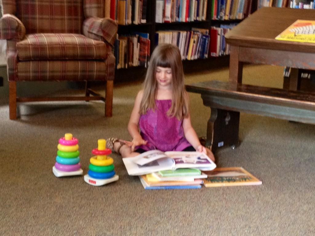 reading near toys