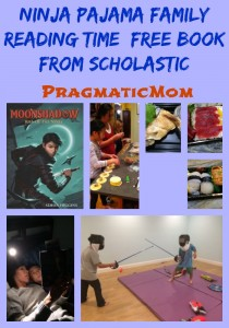 Ninja family reading with flashlights, free book from scholastic and eveready batteries
