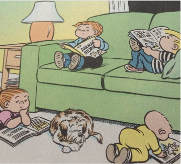 Family Circus cartoon of kids reading