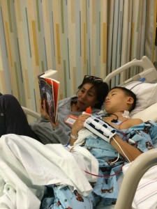 reading Blood of Olympus, Percy Jackson at Boston Children's Hospital