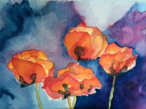 poppies watercolor painting by mia wenjen