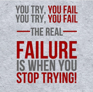 the real failure is when you stop trying, fail and try again