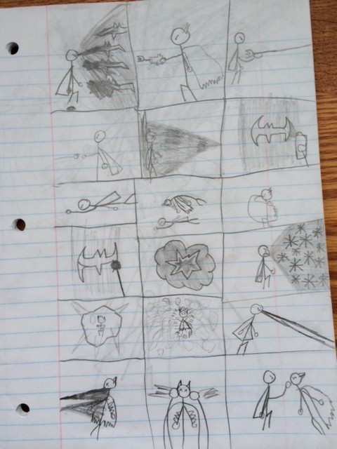 my son's comics based on DC and Marvel comic superheroes