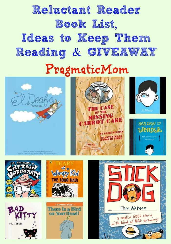 Reluctant Reader Book List & GIVEAWAY